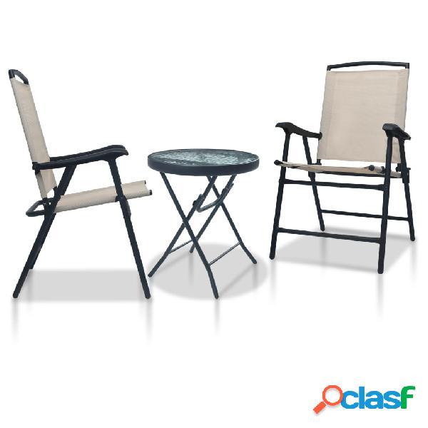 vidaXL Mesa y sillas de bistró 3 piezas acero color crema