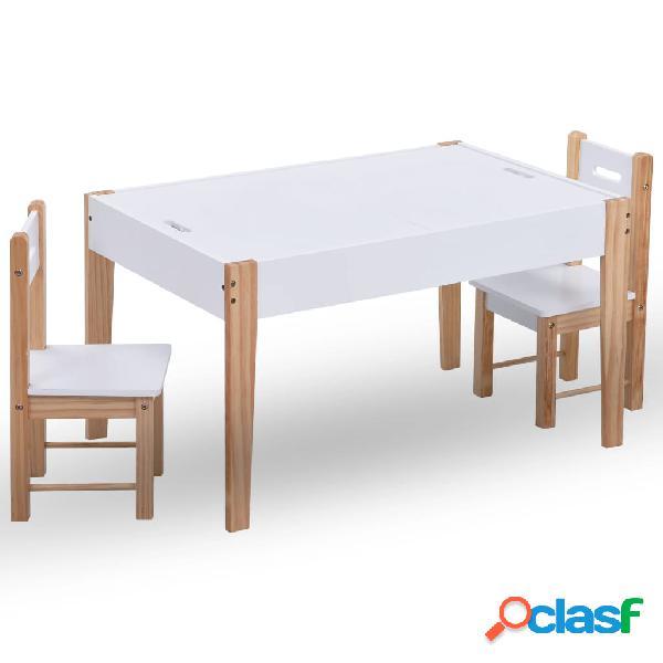 vidaXL Mesa y sillas infantiles 3 pzas con pizarra negro y