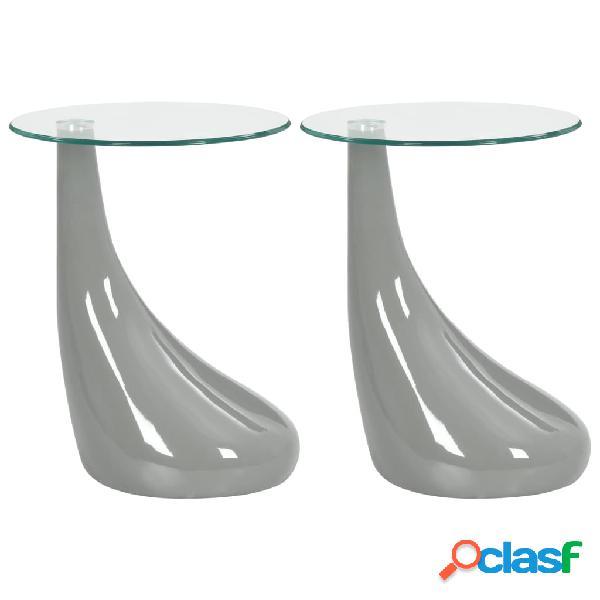 vidaXL Mesas de centro 2 uds redondas de vidrio gris