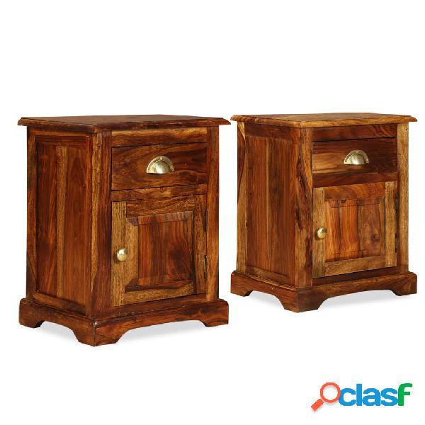 vidaXL Mesita de noche 2 unidades 40x30x50cm madera maciza