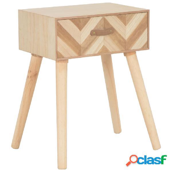 vidaXL Mesita de noche con cajón de madera maciza 44x30x58