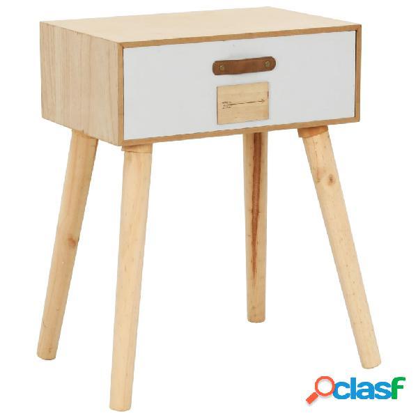 vidaXL Mesita de noche con cajón madera pino maciza