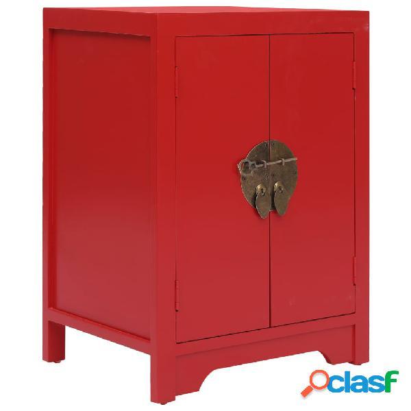 vidaXL Mesita de noche madera de Paulownia rojo 38x28x52 cm