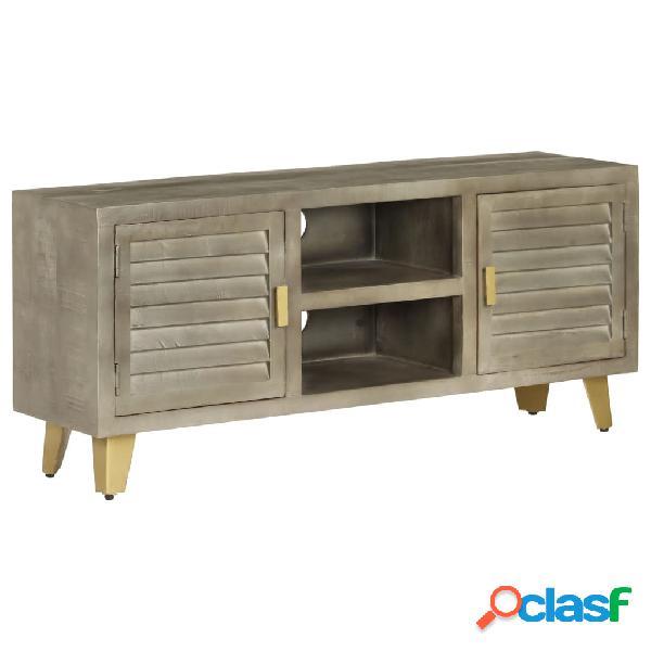 vidaXL Mueble TV de madera de mango maciza gris y latón