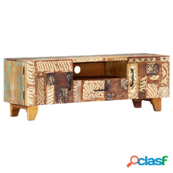 vidaXL Mueble TV tallado a mano madera maciza reciclada