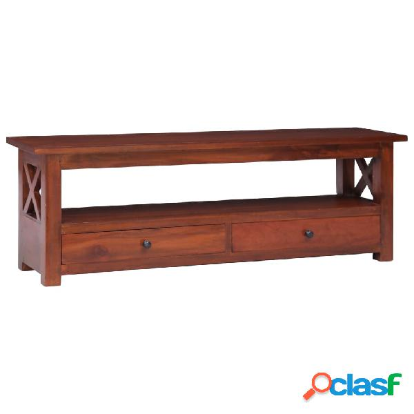 vidaXL Mueble de TV madera maciza de caoba marrón 120x30x40