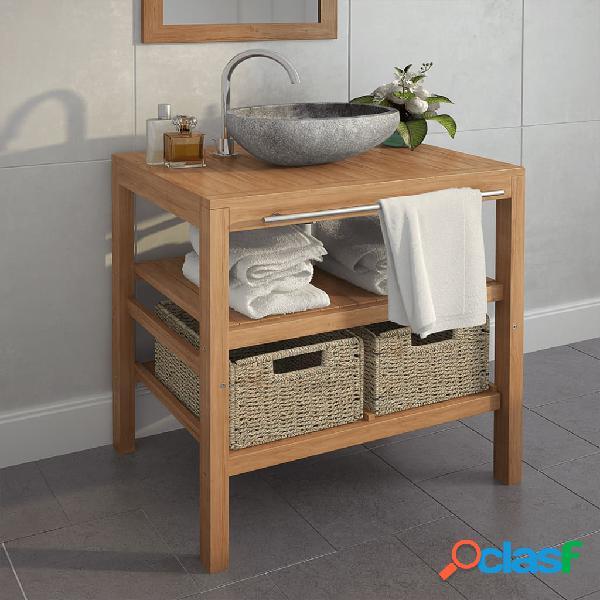 vidaXL Mueble de lavabo con 2 cestas madera teca maciza