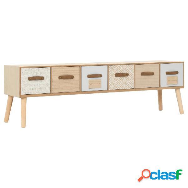 vidaXL Mueble para TV con 6 cajones madera maciza de pino