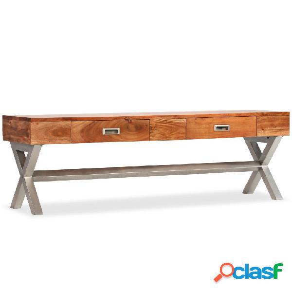 vidaXL Mueble para TV con cajones madera maciza acabado