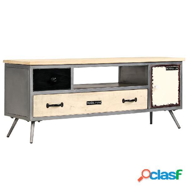 vidaXL Mueble para TV de madera de mango maciza y acero