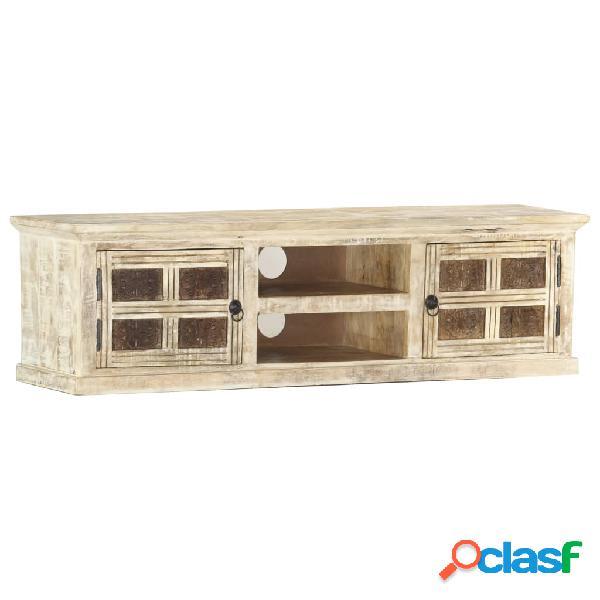 vidaXL Mueble para TV de madera maciza de mango blanco