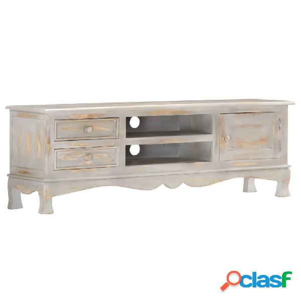 vidaXL Mueble para TV de madera maciza de mango gris