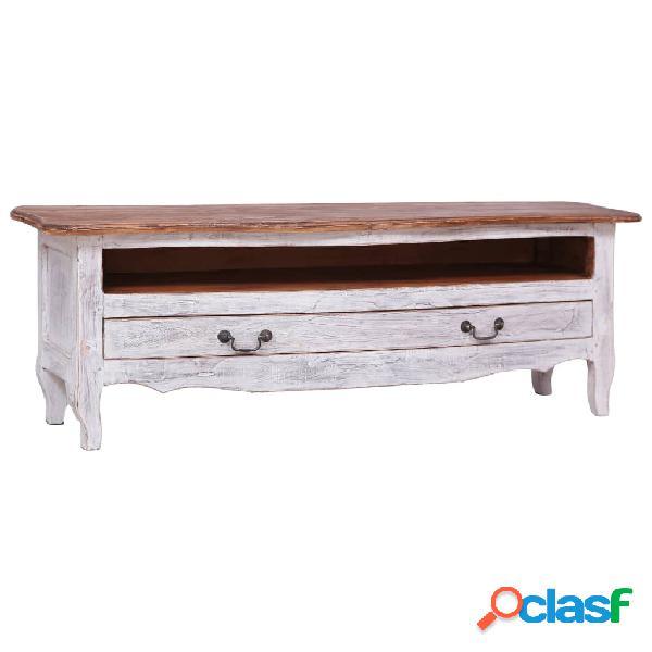vidaXL Mueble para TV de madera maciza reciclada blanco