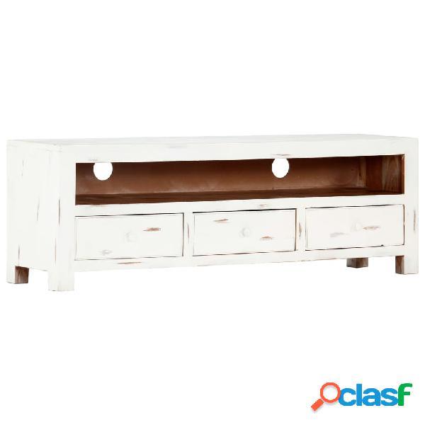 vidaXL Mueble para TV madera maciza de acacia blanco