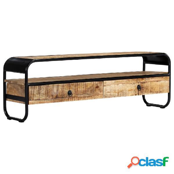 vidaXL Mueble para TV madera mango en bruto marrón y negro