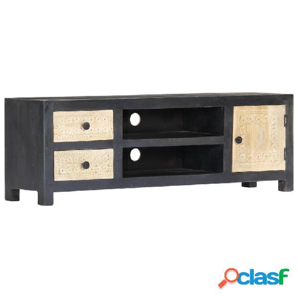 vidaXL Mueble para TV tallado a mano madera de mango gris