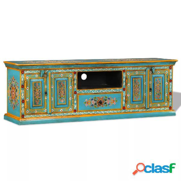 vidaXL Mueble para la TV de madera de mango azul maciza