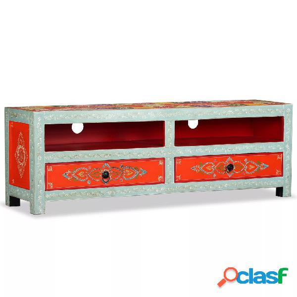 vidaXL Mueble para la TV de madera de mango maciza pintada a