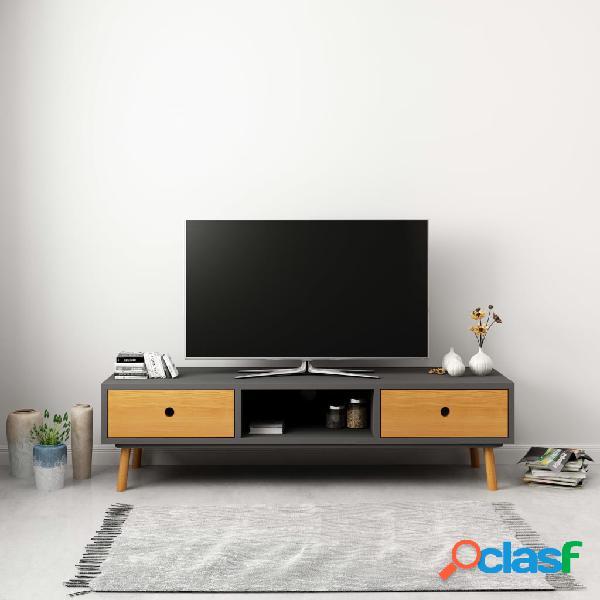 vidaXL Mueble para la TV de madera maciza de pino gris