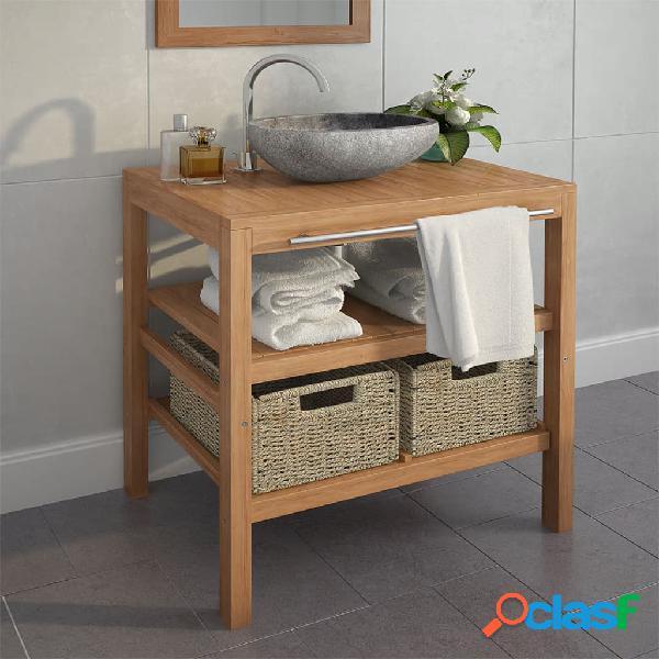 vidaXL Mueble tocador madera teca maciza con lavabo de