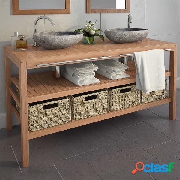 vidaXL Mueble tocador madera teca maciza con lavabos de