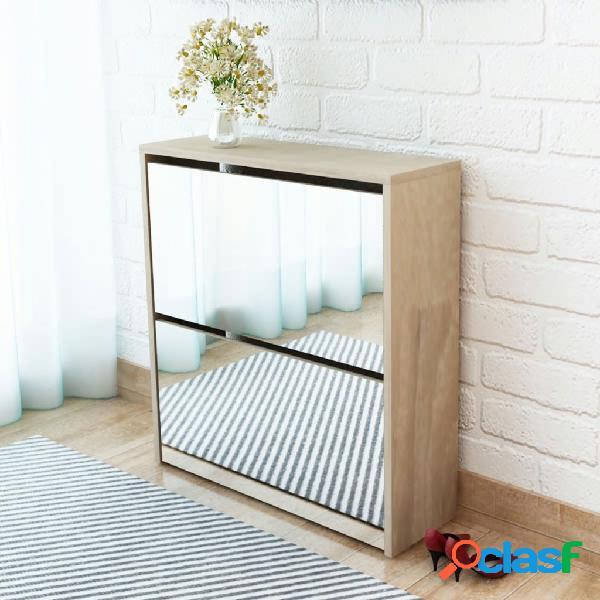 vidaXL Mueble zapatero de roble 2 compartimentos con espejo