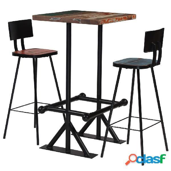 vidaXL Muebles de bar 3 piezas madera maciza reciclada