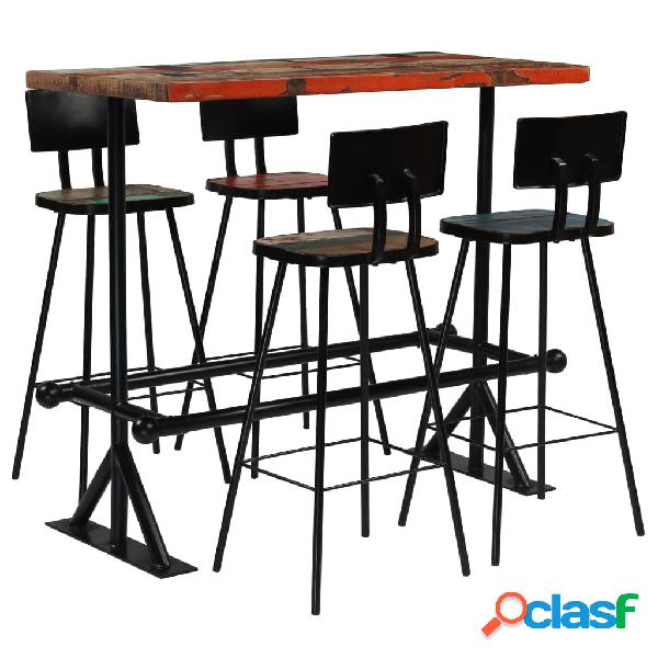 vidaXL Muebles de bar 5 piezas madera maciza reciclada