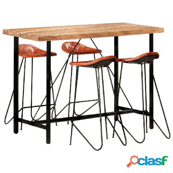 vidaXL Muebles de bar 5 piezas madera maciza sheesham cuero