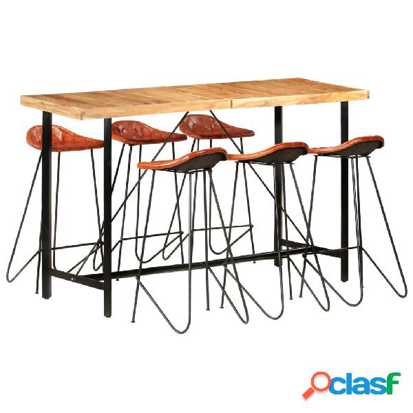 vidaXL Muebles de bar 7 piezas madera maciza sheesham cuero