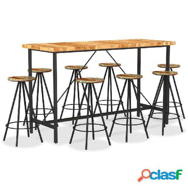 vidaXL Muebles de bar 9 pzas madera maciza acacia y madera