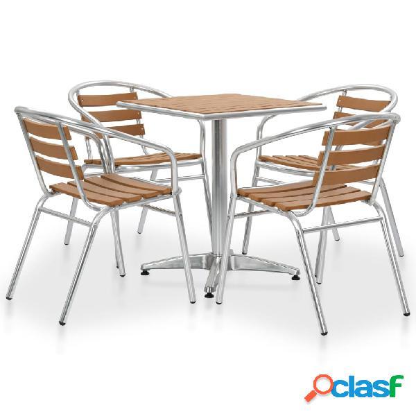 vidaXL Muebles de comedor de jardín 5 piezas aluminio WPC