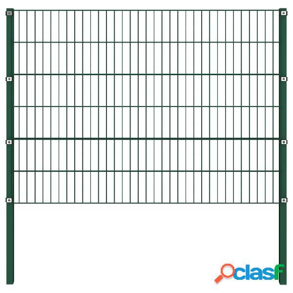 vidaXL Panel de valla con postes hierro verde 1,7x1,2 m