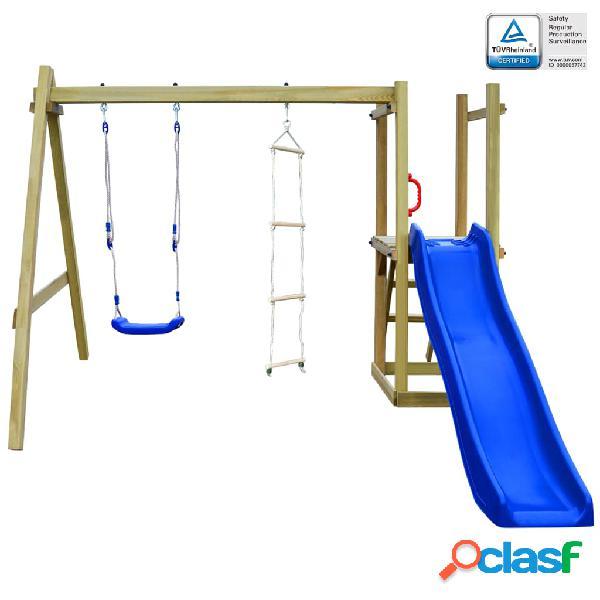 vidaXL Parque infantil con tobogán escaleras y columpio de