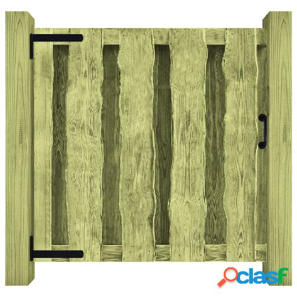 vidaXL Puerta de valla de madera pino impregnada verde