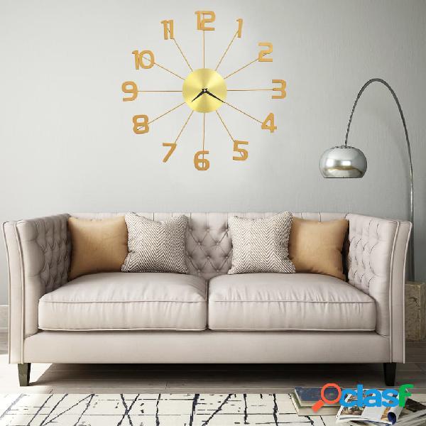 vidaXL Reloj de pared de metal dorado 50 cm