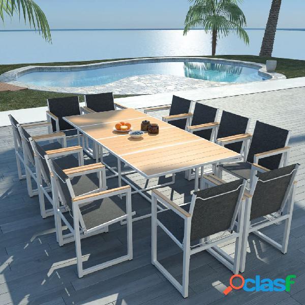 vidaXL Set comedor de jardín 13 piezas aluminio y