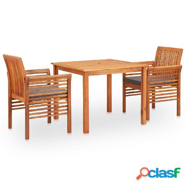 vidaXL Set comedor de jardín 3 pzas y cojines madera maciza