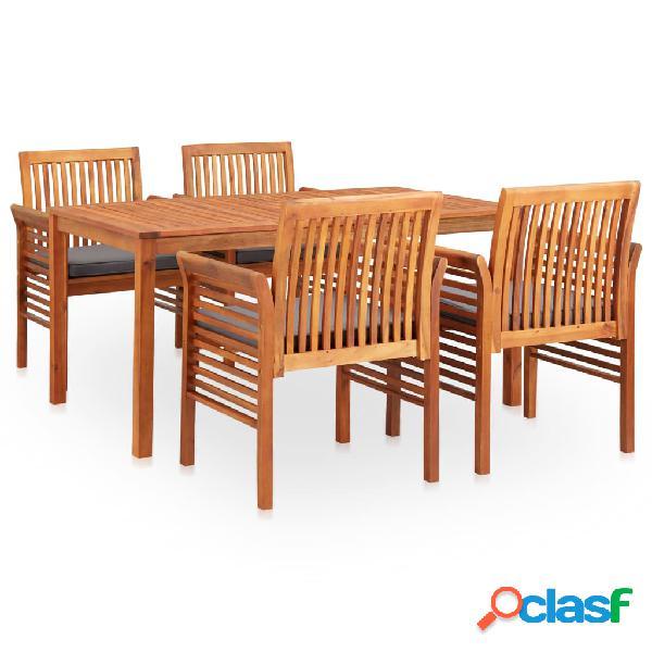 vidaXL Set comedor de jardín 5 pzas y cojines madera maciza