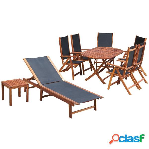 vidaXL Set comedor de jardín 9 pzas y cojines madera maciza