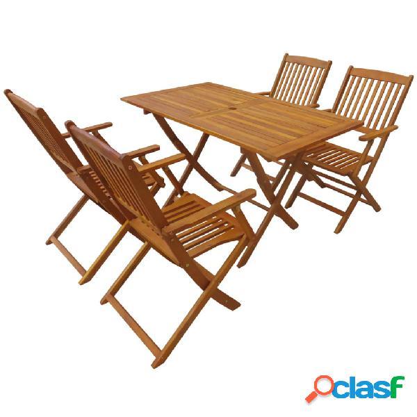vidaXL Set comedor de jardín plegable 5 piezas madera