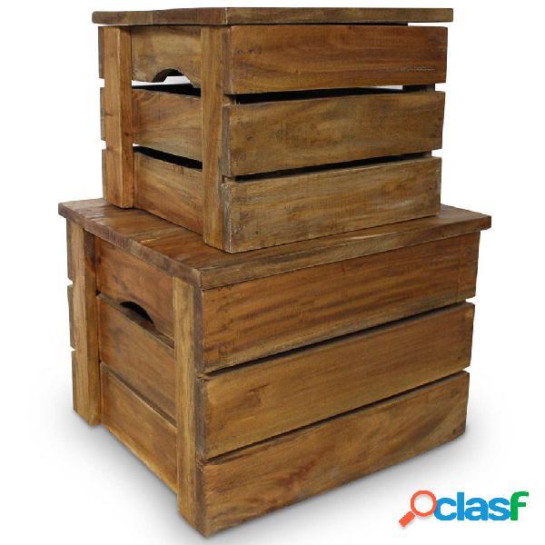 vidaXL Set de 2 cajas de almacenaje de madera maciza