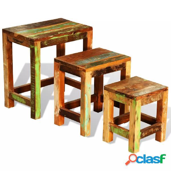 vidaXL Set de 3 mesitas apilables vintage de madera maciza