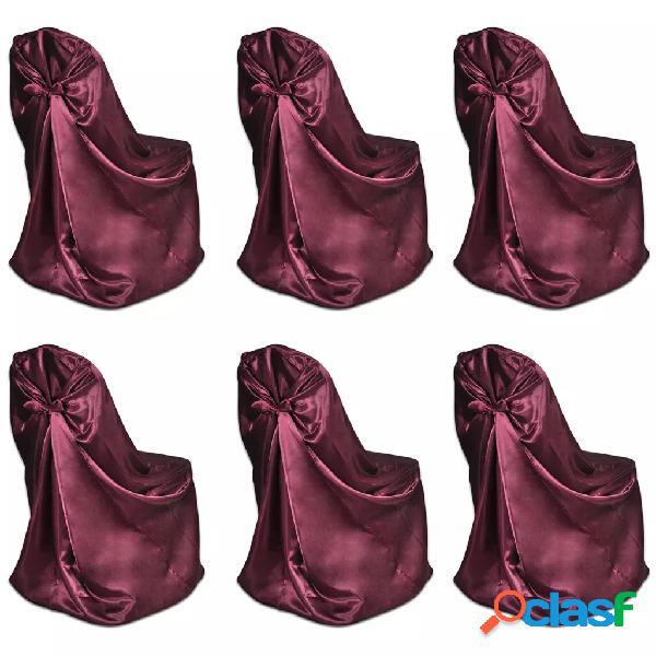 vidaXL Set de 6 Fundas rojas burdeos para sillas, banquetes