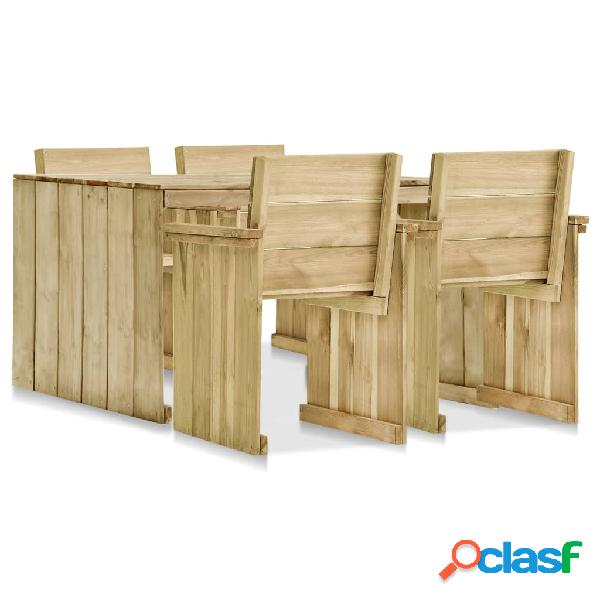 vidaXL Set de comedor de jardín 5 piezas madera de pino