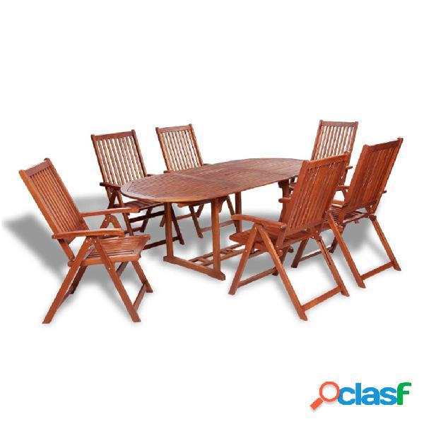 vidaXL Set de comedor de jardín 7 piezas madera maciza de