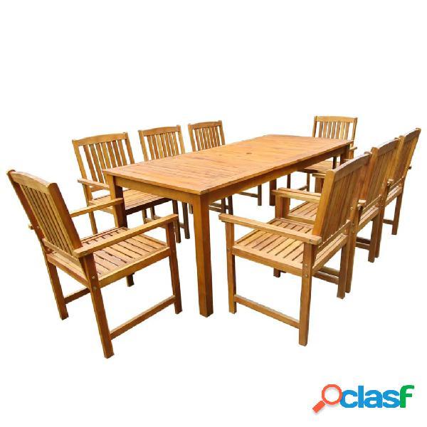 vidaXL Set de comedor de jardín 9 piezas madera maciza de