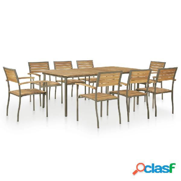 vidaXL Set de comedor de jardín 9 pzas madera maciza de