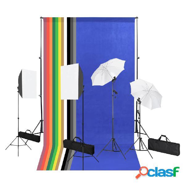 vidaXL Set de estudio fotográfía telón de fondo luces