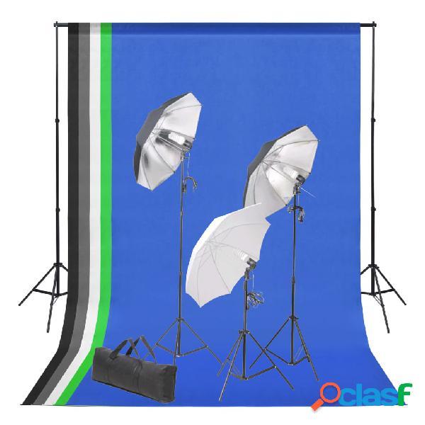 vidaXL Set de estudio fotográfico con telón de fondo e